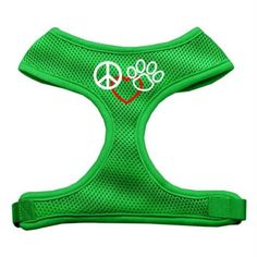 Mirage Pet Products Peace, Love, Paw Design Soft Mesh Dog Harnesses, Small, Emerald Green *** Read more reviews of the product by visiting the link on the image. (This is an affiliate link and I receive a commission for the sales)