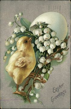 Vintage Easter greeting card - Chick with Lily of the Valley Flowers (c. 1910)