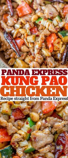 Panda Express Kung Pao Chicken with zucchini, bell peppers and crunchy peanuts i. - Panda Express Kung Pao Chicken with zucchini, bell peppers and crunchy peanuts in an easy ginger ga - Panda Express Kung Pao Chicken Recipe, Panda Express Recipes, Express Chicken, Asian Recipes, Healthy Recipes, Ethnic Recipes, Pollo Kung Pao, Carne, Asian Cooking