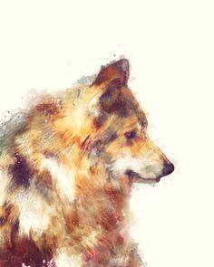Loup d'aquarelle