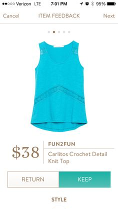 .Fun2Fun Carlitos Crochet Detail Knit Top Love the color and knit material for summer!!