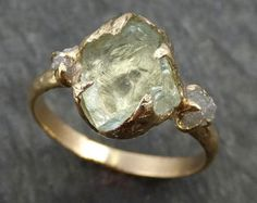 Raw Uncut Aquamarine Diamond Gold Engagement Ring Wedding Ring