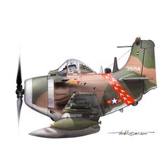 Side view profile cartoon of an A-1H Skyraider of the 524th Fighter Sq. at Nha-Trang AFB - VNAF in the mid 60s. This was the alternative Sq. markings before it converted to jet fighter, the A-37B Dragonfly in the late 60s.