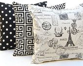 Black Pillows Throw Pillow Covers for Decorative Pillows Cushion Covers Onyx Black and Natural 20 x 20 TRIO