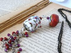 Boho Chic Necklace Handstitched Fabric Bead Cranberry Handcrafted Polymer Clay Bead