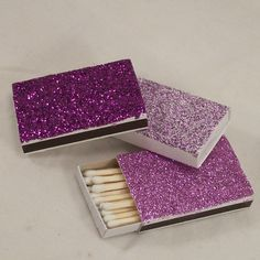 Glitter matchboxes...favors & for the wedding sparklers!