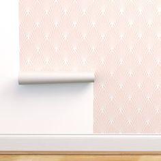 Blush Wallpaper - Art Deco Blush by kimsa - Geometric Pink Jumbo Fan Wallpaper Roll by Spoonflower Blush Wallpaper, Stick On Wallpaper, Self Adhesive Wallpaper, Custom Wallpaper, Wallpaper Art, Bathroom Wallpaper, Prepasted Wallpaper, Drawer And Shelf Liners, Fabric Art