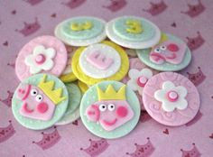 Peppa Pig-Inspired Fondant Toppers - Perfect for Cupcakes, Cookies and Other Edibles on Etsy, $26.99