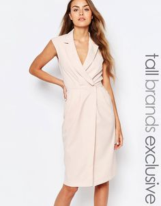 Image 1 of Alter Tall Wrap Front Sleeveless Dress With Lapels
