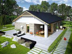 projekt Daniel G2 #CasadeCampo House Floor Design, Modern House Floor Plans, Small House Design, Dream Home Design, Tyni House, Facade House, Investment House, House Construction Plan, Small Modern Home