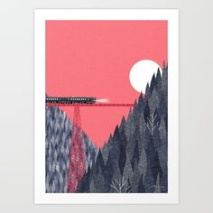Railroad bridge Art Print by Ryo Takemasa. Worldwide shipping available at Society6.com. Just one of millions of high quality products available.