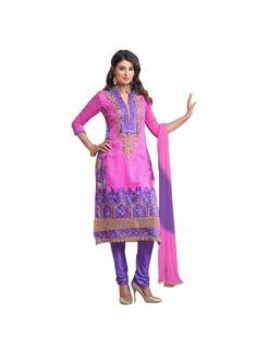 Lavender Pink Stone Work Thread Resham Work Santton Designer Salwar Kmaeez http://www.angelnx.com/featuredproduct
