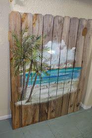 Coastal Chic Boutique: Strandszene auf verwittertem Zaun Coastal Chic Boutique: beach scene on weathered fence Pallet Painting, Pallet Art, Painting On Wood, Fence Painting, Beach Scene Painting, Beach Paintings, Graffiti Painting, Coastal Style, Coastal Decor