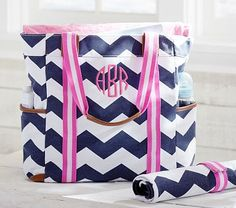...so this is actually a diaper bag... but I need it anyways!  Navy Chevron Harper Tote #PotteryBarnKids