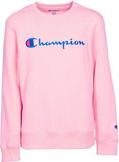 5367700a2e66 Champion Girls  Heritage Script Crew Neck Pullover. Pink Champion  SweatshirtChampion ...