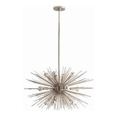 """Arteriors Home - Arteriors Home Zanadoo Polished Nickel Chandelier, Small - Arteriors Home 89670 - Arteriors Home 89670 - The Small Zanadoo 12L Chandelier hangs at an adjustable height of 27"""" - 45"""" and a striking 29"""" diameter. It is a glamorous reference to the starburst motif of the 60s and 70s but reinterpreted for a contemporary aesthetic. Finished in polished nickel, this dramatic fixture will leave your living room, dining room or foyer dazzling beneath its presence. Includes ..."""