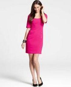 Ann Taylor Hypnotic Pink Doubleweave Zip Pocket Short Sleeve Dress #Glimpse_by_TheFind
