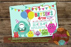Monster Birthday Party Invitation  Kids by InvitasticInvites