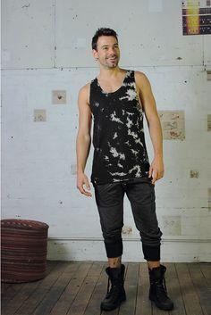 Men's textured Tank - Men's Tank, Black Tank, Hand dyed, Men's singlet. by IdisDesigns on Etsy