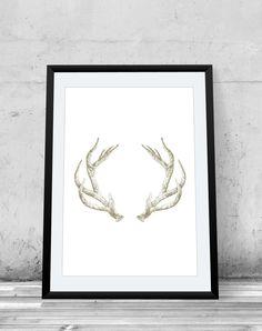 Antlers Deer Illustration Woodland Fake Gold Glitter by RNDMS