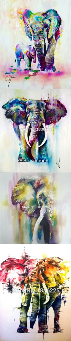 Hot sale Hand-painted modern home decorative abstract oil painting on canvas Colors elephant canvas painting  frameless $68