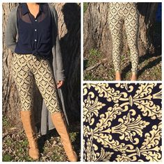 Fashion Legging Comfy and fun, cotton leggings! Very soft and lightweight. Elasticized waist. 80% cotton 20% polyester. Colors are navy and creme. One Size:M/L, fits sizes approximately 3-8 ⭐️🎉PLEASE LEAVE A COMMENT ⭐️🎉  with your request & I will 💗MAKE A PRIVATE LISTING FOR YOU💗 Pants Leggings