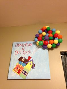 """""""Adventure is out there"""" Paint clear Christmas ornaments for balloons"""