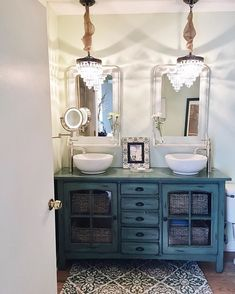 Pin for Later: Fixer Upper Fans Have a New Website to Be Addicted To Because she has those chandeliers in her bathroom vanity Farmhouse Sink Vanity, Vanity Sink, Dresser To Bathroom Vanity, Sink Faucets, Dresser Sink, Blue Vanity, Bathroom Renos, Small Bathroom, Marble Bathrooms