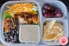 Leftover grilled chicken = @EasyLunchboxes  chicken taco salad packed for lunch!