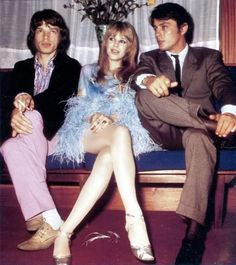 Mick Jagger, Marianne Faithfull and Alain Delon
