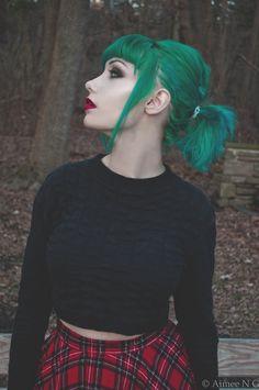 cute ponytail look with bangs (green hair)