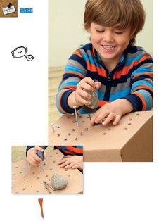 Cardboard box to learn basic tool skills - love this idea