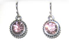 Silver Cubic Zirconia Earring with Dusky Pink Crystal €15