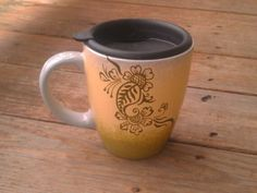 Down to Earth ombre mug in SureFootedDreamer etsy shop. Cool henna design with green yellow grey background.