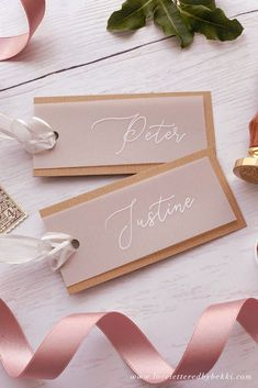 Diy Wedding Name Place Cards, Calligraphy Wedding Place Cards, Wedding Place Settings, Wedding Places, Wedding Stationery, Wedding Gifts, Diy Wedding Cards, Diy Place Cards, Wedding Tags