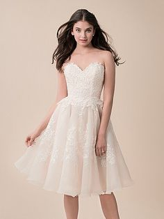 Moonlight Tango T791 Flirty Knee Length Re Embroidered Lace And Organza Bridal Ball Gown Wedding