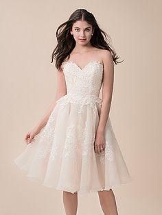 Moonlight Tango T791 Short Strapless Lace Ball Gown Wedding Reception Dress