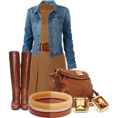 Brown dress and accessories