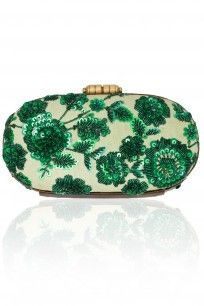 Sabyasachi Mint green hand crusted leather minaudiere clutch