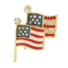 Brass Enamel American Flags Pin with Clear CZ 37x27mm . $1.99. Brass Enamel. 37x27mm. Clear Cubic Zirconia. American Flags Pin