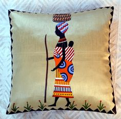 Fashioned with Indian hand painted Madhubani art in bright hues, the Tribal Cushion Cover bears a unique style statement. Its surely a wonderful way Dress Painting, Fabric Painting, Fabric Art, Cushion Cover Designs, Cushion Covers, Pillow Covers, Madhubani Art, Madhubani Painting, Fabric Paint Designs