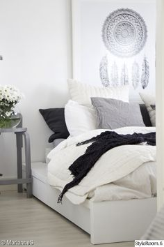 makuuhuone,sänky,musta,valkoinen,harmaa