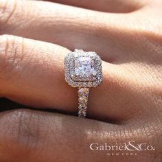 Preferred Fine Jewelry and Bridal Brand. This sparkling White Gold Princess Cut Double Halo Engagement Ring entwined with diamonds will have her mouth drop! Double Halo Engagement Ring, Best Engagement Rings, Beautiful Engagement Rings, Vintage Engagement Rings, Princess Wedding Rings, Princess Cut Rings, Princess Cut Engagement Rings, Princess Cut With Halo, Wedding Bands
