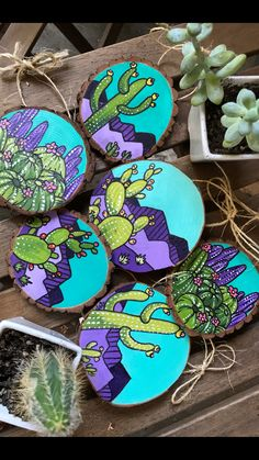 Handpainted on wood ornaments Cactus Painting, Cactus Art, Pebble Painting, Pebble Art, Stone Painting, Painting On Wood, Rock Painting Patterns, Rock Painting Designs, Rock Crafts