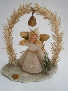 Antique Christmas Tree Ornament Angel Made Of And Paper Mache From Germany