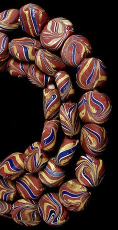 Venetain Tubular Trade Beads | Wound and decorated | ca. late 1800s to early 1900s