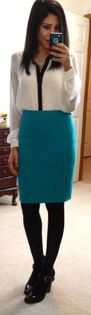 With turquoise pencil skirt #winter