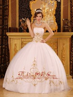 Romantic White Quinceanera Dress Strapless Satin and Tulle Appliques Ball Gown- $210.12  www.fashionos.com  white strapless ruched quinceanera gown for cheap