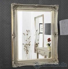 This mirror has a glass size of 4 x 6 x and has an overall size of 3 x 5 x Wall Mirror, Oversized Mirror, Shabby Chic, Antiques, Glass, Furniture, Home Decor, Style, Chic