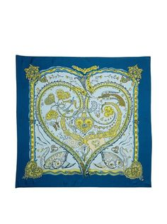 HERMES De Tout Couer Scarf, Blue, One Size $295 on myhabit.com was 525$